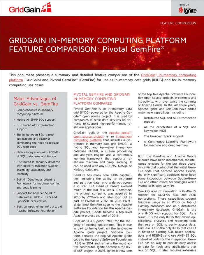 GridGain and Pivotal GemFire Feature Comparison