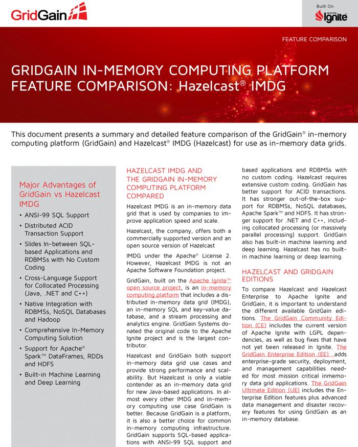 GridGain and Hazelcast IMDG Feature Comparison - GridGain