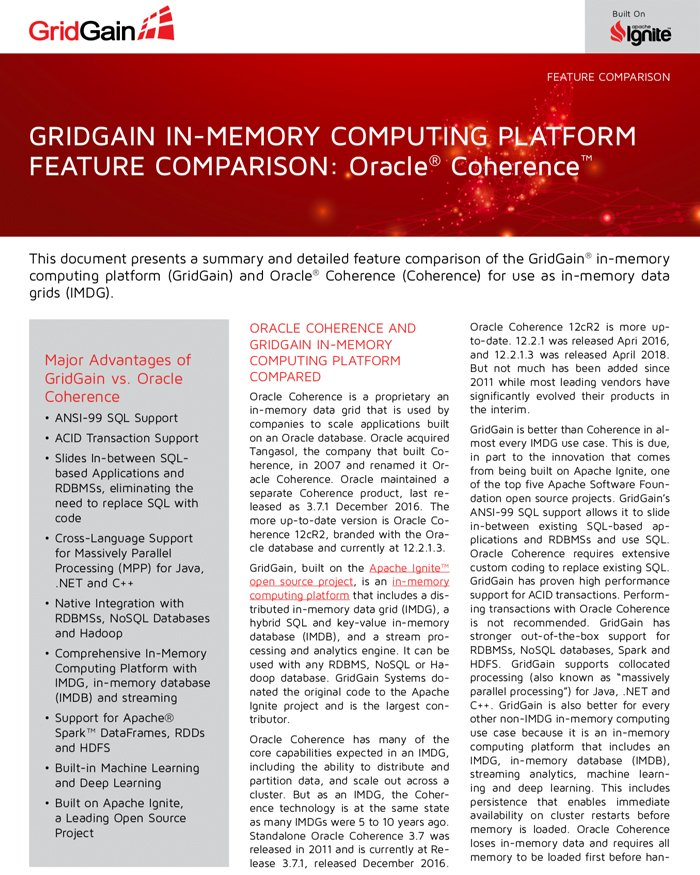 GridGain and Oracle Coherence Feature Comparison - GridGain Systems