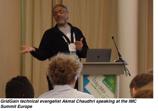 GridGain technical evangelist Akmal Chaudhri speaking at the IMC Summit Europe