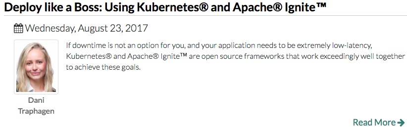 August 23 webinar, Deploy like a Boss: Using Kubernetes and Apache Ignite
