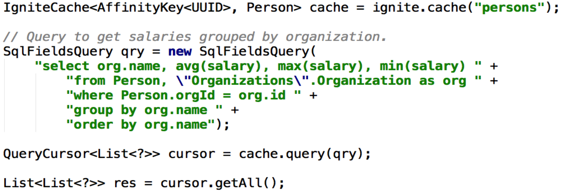 Figure 2. SQL Join using Java