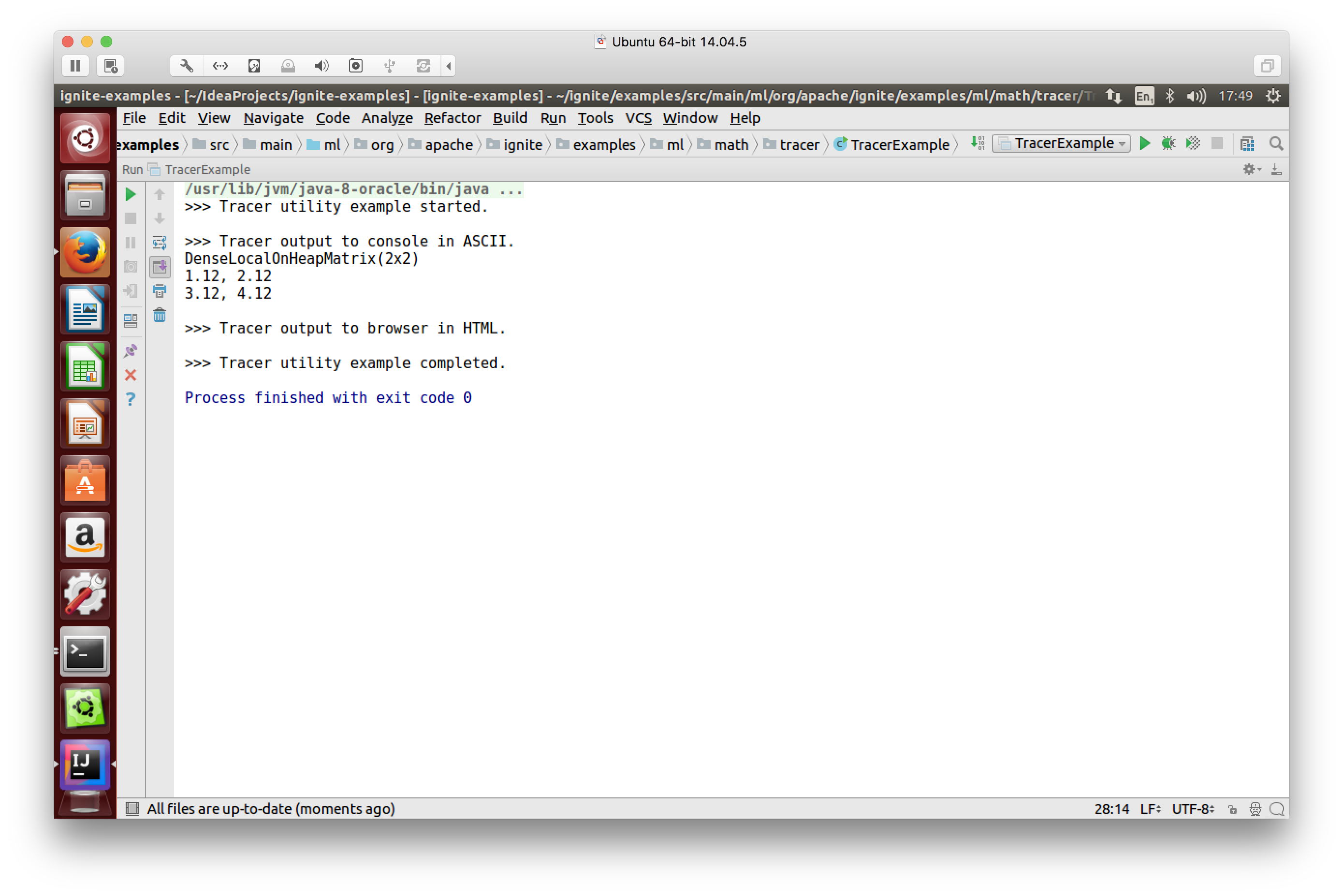 Figure 3. Tracer output to console in ASCII