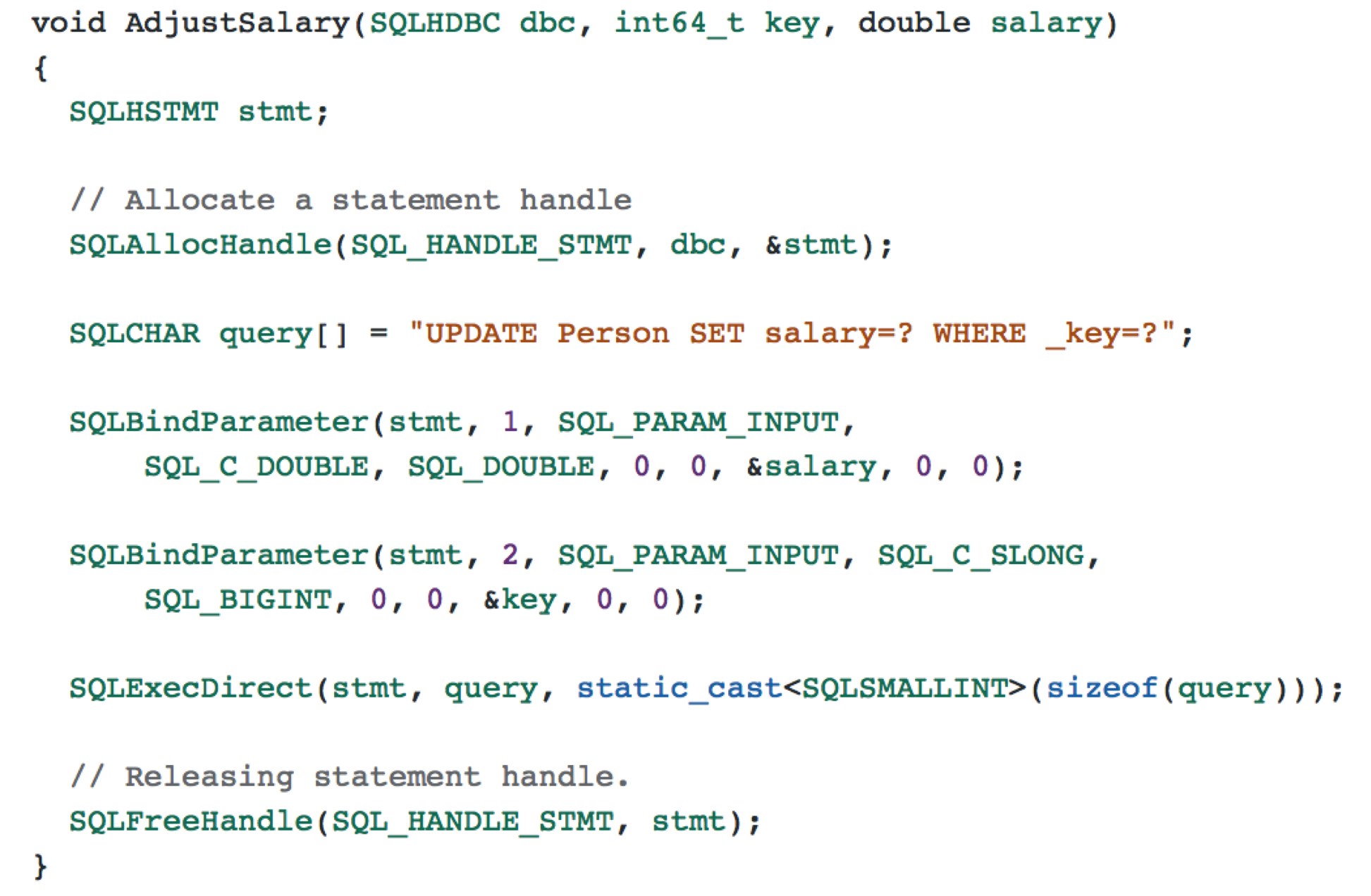 Figure 4. SQL UPDATE using C++