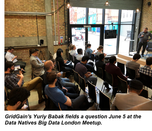 GridGain's Yuriy Babak fields a question at the Data Natives Big Data London Meetup on June 5.