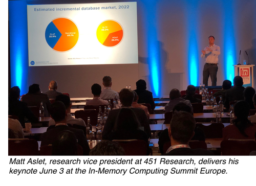 Matt Aslet, research vice president at 451 Research, delivers his keynote June 3 at the In-Memory Computing Summit Europe
