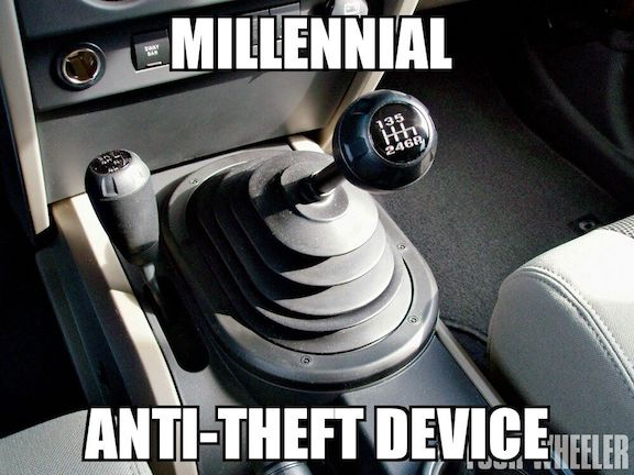 Photo of a stick shift in a car